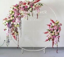 Artificial Silk Flowers Wedding Decors Arch Row Wall Background Wrought Iron New