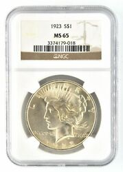1923 Peace Dollar Certified Ngc Graded Ms 65 Silver Us Uncirculated Coin