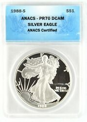 1988 S Silver Eagle Certified Anacs Pr70 Dcam 1 Dollar Deep Cameo Proof Coin