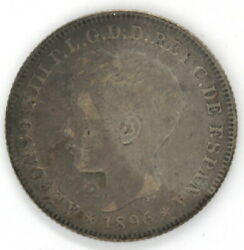 1896 Pgv Puerto Rico 40 Centavos Alfonso Xiii .900 Silver Coin Km23 Low Mintage