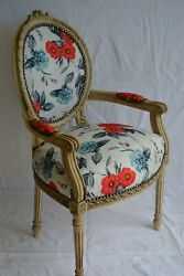 Louis Xvi Arm Chair French Style Chair Vintage Furniture Red Flowers