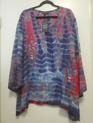 Greater Good Tie Dye Viscose Tunic Bell Sleeves Boho 3x Multicolor Nwt