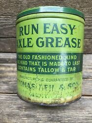 Vintage Run Easy Axle Grease Can Thomas Leh And Son East Greenville Pa Tin W/ Lid