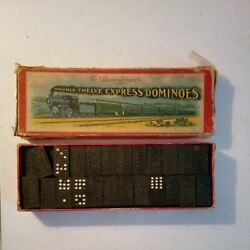 Antique Double Twelve Express Train Dominoes By The Embossing Co., Usa Made