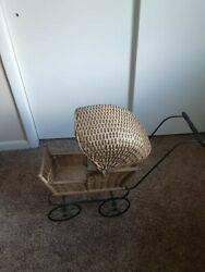 Antique Wicker Baby Buggy 22 X 34 Functional Moving Parts