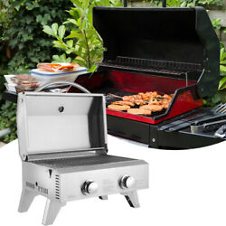 Tabletop Stainless Steel 2-burner Gas Grill Portable 2000 Btu Bbq Grid With