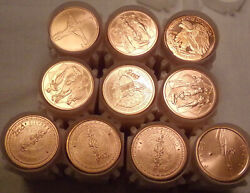 200 One 1 Ounce Oz .999 Copper Rounds 10 Assorted Rolls 2nds......lot 7738