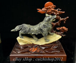 12 Chinese Natural Xiu Jade Carving Feng Shui Wolf Wolves Howl Statue