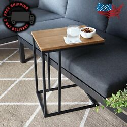 C-shaped End Side Table Sofa Side Table Wood Laptop Tv Tray Metal Frame Living