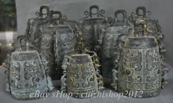 11 Antique Old Chinese Bronze Ware Ancient Instrument Zhong Bell Chime Set