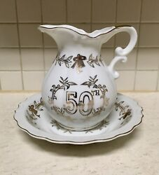 """6"""" Lefton China 50th Anniversary Gifts Pitcher And Basin Bowl Hand Painted Gold"""