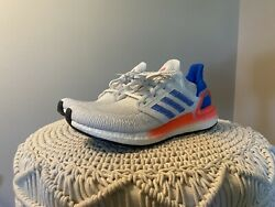 Adidas Ultraboost 20 White/blue/red New With Tags And Box Size 10.5