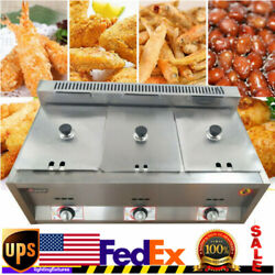 18l 6lx3 Commercial Gas Fryer Countertop Gas Deep Fryer Stainless Steel 3-pan