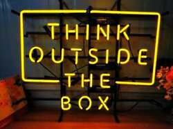 New Think Outside The Box Neon Sign Light Lamp 24x20 Man Cave Beer Bar Gift