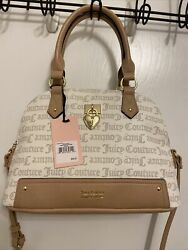 NEW JUICY COUTURE UNDER LOCK AND KEY DOME SATCHEL CROSSBODY BAG PECAN WHITE $45.00