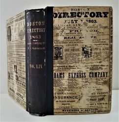 1863 Antique Boston Ma City Directory History Genealogy Ads Occupation