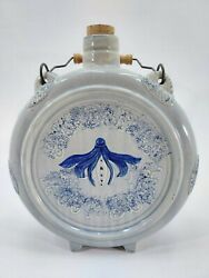 Vintage Barwell's Root Beer Glazed Stoneware Cobalt Blue Cask With Handle And Cork