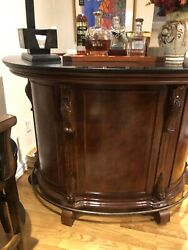 Cherry Wood Bar Set With Front Gate Stools. 3 Stool Sold Together Or Separately.