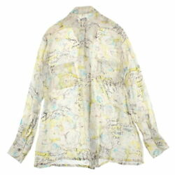 Pole Total Pattern Long-sleeved Shirt Blouse 98c Silk Ivory No.5569