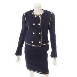Vintage Camellia Button Wool Setup Suit Navy 38 Previously Owned No.5618