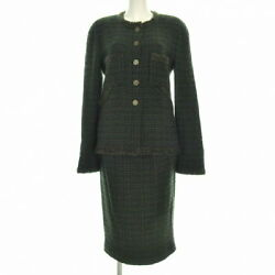 Previously Owned Skirt Suit Tweed Plaid Boutique Khaki Light No.5627