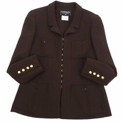 Pole Vintage 96a Coco Mark Button Jacket Wool Outer Women's No.5814