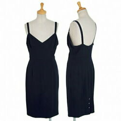 Back Button Slit Cami Dress Navy Blue 34 Previously Owned Women No.5895