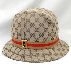 GUCCI Bucket Hat GG Canvas Size M Beige Used 3611ME $659.99