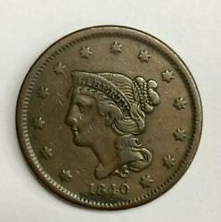 1840 Braided Hair Large Cent 1andcent Extremely Fine - Environmentally Spotted
