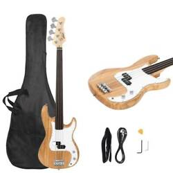 New Burlywood Fretless Basswood Right Handed Electric Bass Guitar