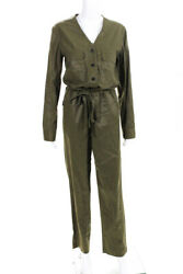 Rag And Bone Womens Button Up Drawstring V Neck Jumpsuit Green Size 4