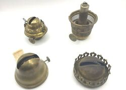Lot Of 4 Antique Lamp Parts Burners Aladdin B, Plume And Atwood, E. Miller, Etc.