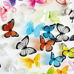 eoorau 73PCS Butterfly Wall Decals for Girls3D Butterflies Decor Removable for
