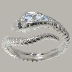 925 Sterling Silver Natural Aquamarine Sapphire Womens Band Ring - Sizes J To Z