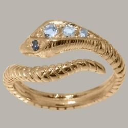 14ct Rose Gold Natural Aquamarine Sapphire Womens Band Ring - Sizes J To Z
