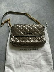 USED Marc Jacobs silver leather shoulder bag with gold chain
