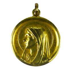 French Virgin Mary 18k Yellow Gold Medal Pendant