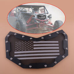 Black Mesh Grille Grill Fit For Can-am Maverick X3 American Flag Front Bumper