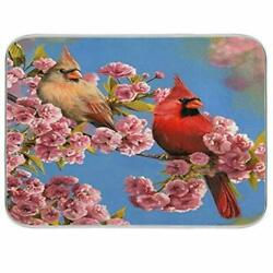 Cardinal Birds Cherry Blossom Trees Dish Drying Mat 18x24 For Kitchen Spring ...