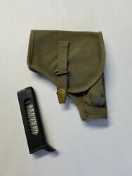 Italian Army Beretta 34/35 O.d. Canvas Holster With Spare 8 Rd Magazine.