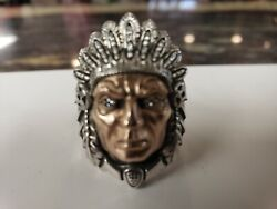 Night Rider Indian Chief Ring In Sterling And Rose Gold With Diamond Eyes S8.75