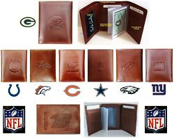 Wallet Tri-fold Highest Quality New All Leather Nfl Billfold Marbled Choose Team