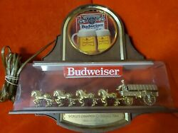 Vintage Budweiser Clydesdale World Champion Gold Light Display Tested