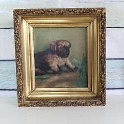 Antique Victorian Oil Painting Puppy With Bug Deep Shadowbox Gilt Gesso Frame