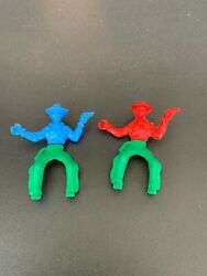 Lot Of 2 Lido Mounted Cowboy. Swivel Hip 1960s. Green Blue Red Plastic