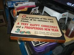 Vintage-black Cat Cigarettes , Happy Christmas Sign 4 Stores With Easel Back
