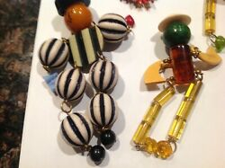 Lot Of Vintage One Is Miriam Haskell Bakelite Celluloid Wood Pins Brooches