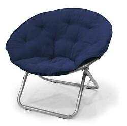 Oversized Soft Microsuede Saucer Chair Foldable Home Dorm Room Sofa Seat Blue