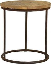 Rustique Side Table Round Stained Recycled Steel Oak