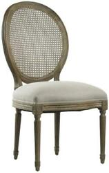 Medallion Side Chair Accent Dining Limed Gray Natural White Linen Oak